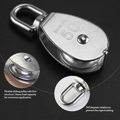 M50 Stainless Steel 304 Wheel Swivel Pulley Block Snatch Rope Loading Lifting