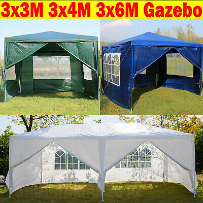 3x/3/4/6m Heavy Duty Waterproof Gazebo Wedding Party Tent with Sides Full Cover