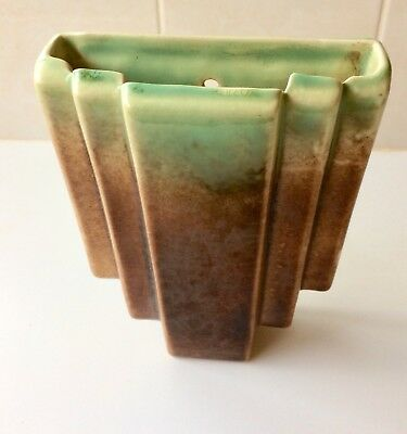 Vintage Art Deco Trent Pottery Wall Pocket Vase - Green Brown - 1930's - Stamped