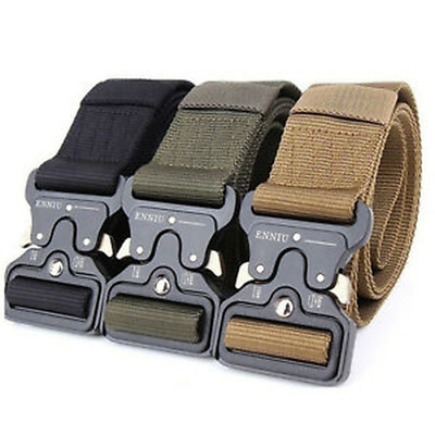 Mens Heavy Duty Military Belts Tactical Army Hunting Outdoor Utility Waistband B