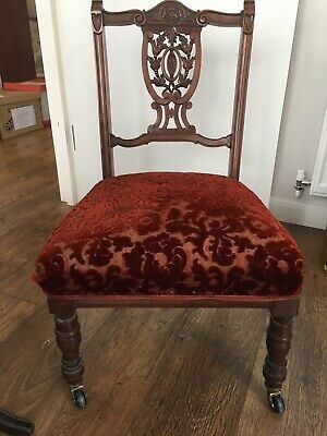 Victorian Prayer Chair - mahogany with carved back