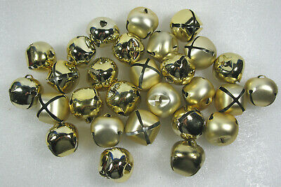 Lot of  24 Gold 35mm Jingle Bells Christmas & Crafts 1.5""