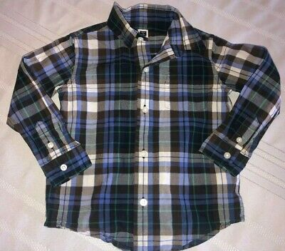 Janie and Jack Boys 2T Race Day Multicolored Plaid Long Sleeve Button up Shirt