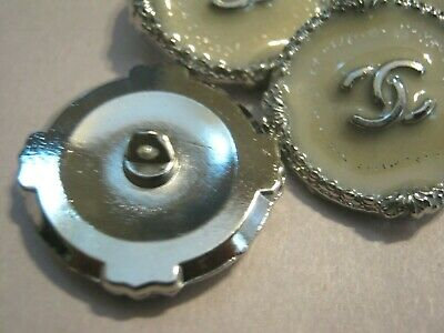 CHANEL 2 OFF white BUTTONS lot of 2 sz 25mm silver metal  cc logo, 2 so pretty