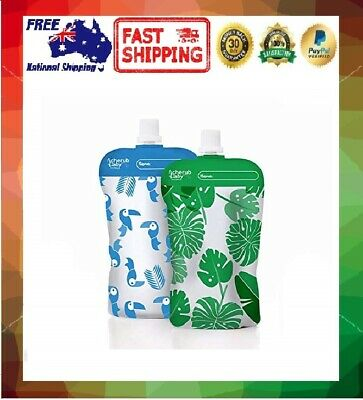 Cherub Baby On The Go Reusable Mini Food Storage Pouches Green/Blue 10 Pack