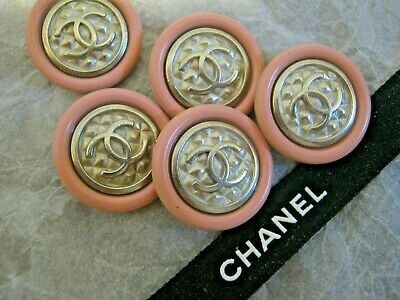 CHANEL 5 PINK SILVER  BUTTONS lot of 5 sz 16mm  metal  cc logo, 5