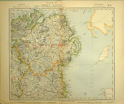 1883 Letts Map North East Ireland Ulster Armagh Tyrone Donegal Londonderry