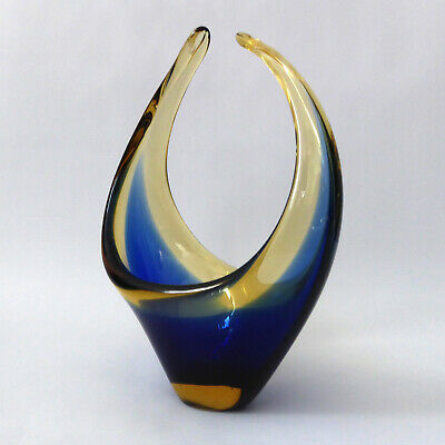 Vintage Murano basket scoop bowl/dish gold amber cased glass Royal blue sommerso