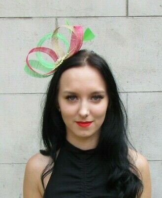 Lime Green Cerise Hot Pink Gold Fascinator Feather Sinamay Wedding Races 7347