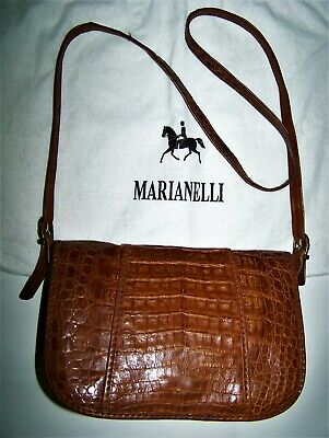 Borsa Marianelli Coccodrillo Crocodile Leather Bag 100% Made In Italy+ Dusty