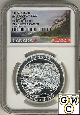2015 Grizzly Bear-The Catch Proof $20 Silver Coin 1oz NGC PF70 .9999Fine (17543)