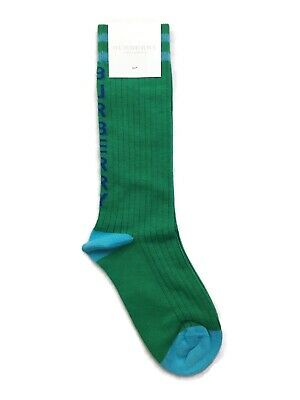 Burberry Children Team Logo Striped Cotton Blend Socks - Green - L/33-35 RRP £40