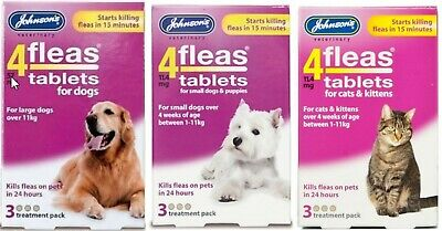 Johnsons Vet 4 Fleas Tablets for Cats & Kittens Puppies & Dogs 3 TREATMENT PACK
