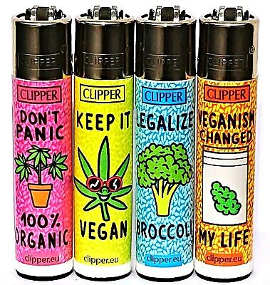 4 x Clipper Lighters VEGAN WEED LEAF Gas Lighter RARE Refillable SET ++ * NEW**