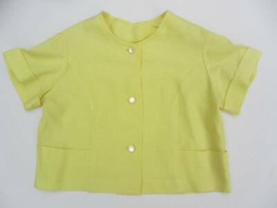 little girls vintage yellow top blouse jacket 50's age 5-6