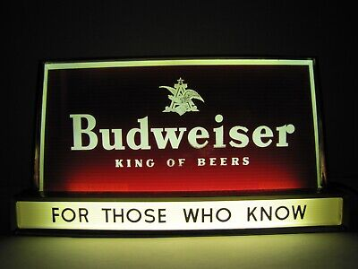 Old BUDWEISER KING OF BEERS FOR THOSE WHO KNOW Bar Pub Tavern Ad Lighted Sign