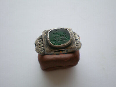 Beautiful Erotic Scene Ancient Roman Natural Gemstone Legionary Silver Ring
