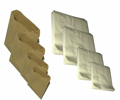 100 x Brown / White / Grease proof Paper Bags Food Kraft Grocery Gift Shop Bags