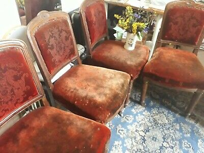 Victorian  decorative Dining Chairs in rustic velvet. Wonderful project.