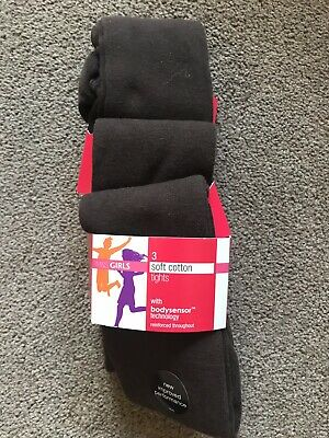 BNWT Marks & Spencer Brown Soft Cotton Tights x 3. Girls. Age 6 - 7 Years
