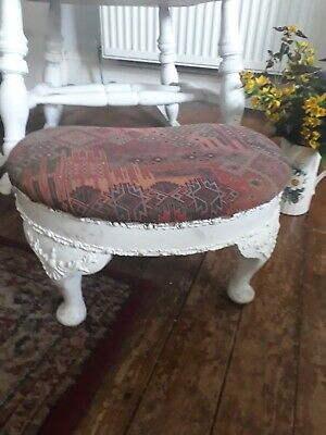 Antique Victorian Foot Stool, Pretty Shaped Legs