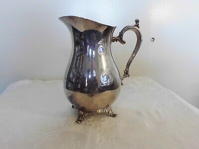 Vintage William Rogers Footed Pitcher 817 Water Ice Lip Silver Plated