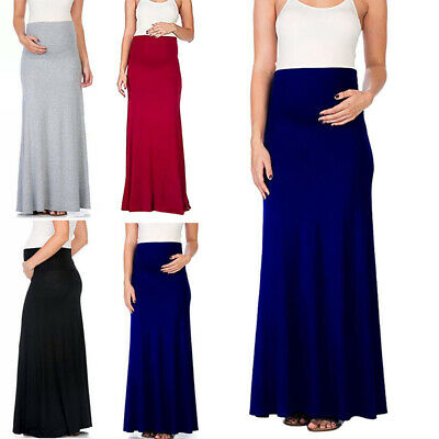 Womens Skirt Summer Long Maxi Fashion Party Solid Color Maternity High Waist