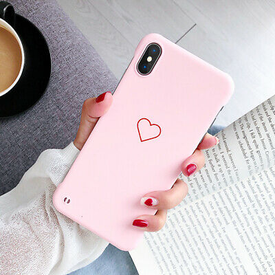 Frameless Slim Couple Heart Hard Case Cover For iPhone XS Max XR X 6s 7 8 Plus
