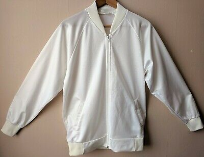 "80s Vintage White Zipped Sports Jacket Leisure 42"" L Geek Bomber"