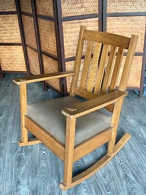 Arts&crafts Mission Style White Oak Quarter-Sawn Wood Rocking Chair