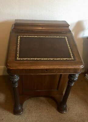 Antique Vintage Leather Inlay Davenport Writing Desk with Drawers.
