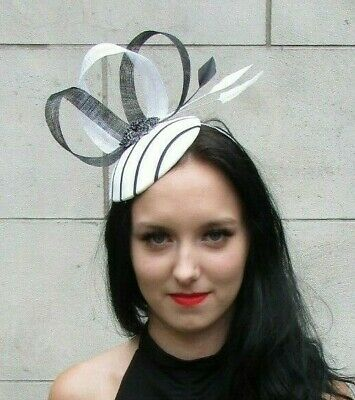 Black White Monochrome Feather Pillbox Hat Fascinator Wedding Races Hair 7354