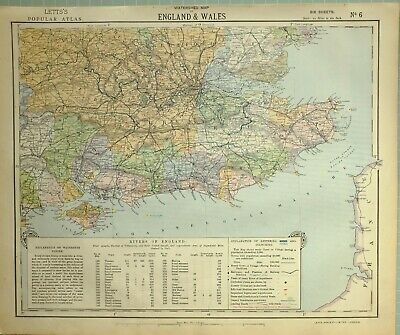 1881 Letts Map South England & Wales Isle Of Wight Surrey Sussex London Hertford