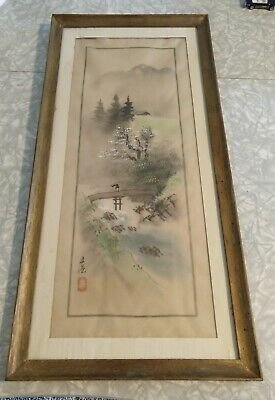 Antique Asian Framed Hand-Painted Scroll