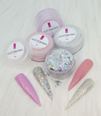 Coloured glitter acrylic powder bundle Glitterama Nails pink silver Dreamland