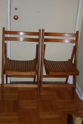 Vintage Antique Primitive Wood Slat Two Folding Chairs Build Solid