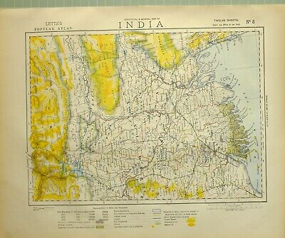 1881 Letts Map India Calcutta Mouth Of The Ganges Bengal Rungpoor