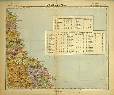 1883 Letts Map North East England & Wales Watershed Sysyem Streams North Riding