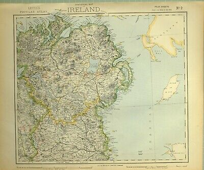 1881 Letts Map Ireland North East ~ Londonderry Antrim Tyrone Donegal Longford