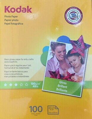 New Kodak Picture Paper 8.5 x 11 Gloss Photo All-in-One Printers 100 Pack