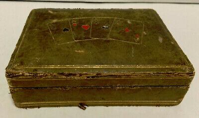 Vintage Leather Covered Wooden Box for Playing Cards Made in Italy - SOLD AS IS