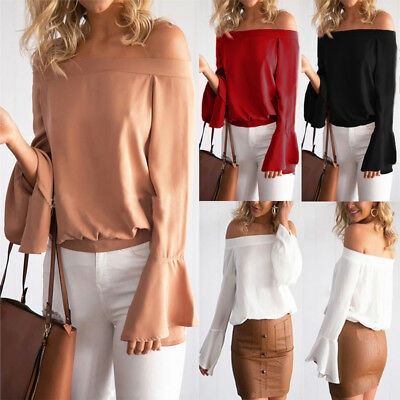 Women Off Shoulder Long Sleeve Casual Solid Shirt Loose Blouse Tops T Shirt Plus