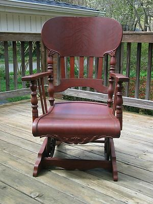 Rare Victorian Antique Oak A.H Schram Rocking Chair Convolute Coil Spring Rocker