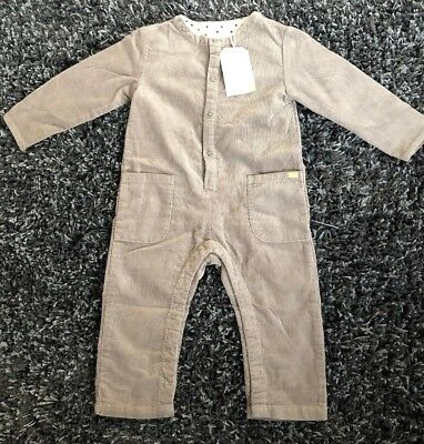 Zara Baby Girl Taupe Corduroy Jumpsuit Romper Pocket Toddler Size 2-3 Year NWT
