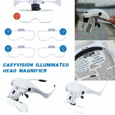 Headband Head Magnifier with 5 Lens LED Light Jeweler Loupe Glass Magnifying ZH8