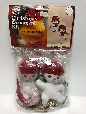 Vintage Christmas Ornament Kit SPORTY SNOWMEN #3493 Holiday Industries, 1979