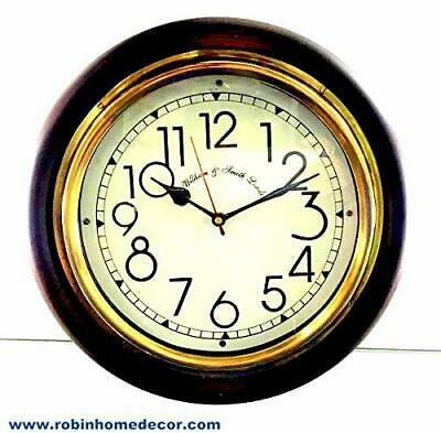William & Smith London Antique Look Silent Wall Clock, 12 Inch Brass And Wooden