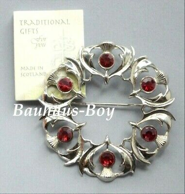 Art Pewter PLAID BROOCH THISTLES 6 FAUX RUBY RED STONES MADE IN SCOTLAND BOXED