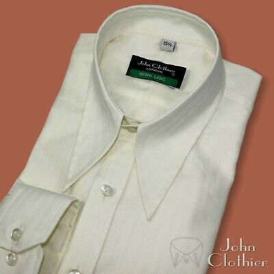 Spearpoint collar shirt Cream stripes 1930's 40's Vintage Classic fit WWII Mens