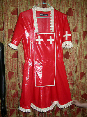 100% Latex Rubber Gummi Dress Kleid Nurse Krankenschwester Catsuit Ganzanzug